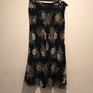 CHARTER CLUB LINED SILK FLORAL MAXI SKIRT